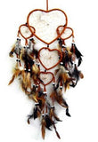 BROWN HEART SHAPED DREAMCATCHER 24 INCH  (Sold by the piece)