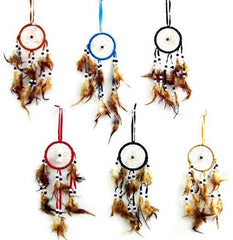 12 IN long DREAM CATCHERS WITH BROWN WEBBING FEATHERS AND BEADS (sold by the dozen )