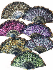 LACE CLOTH ANIMAL SKIN PRINT HAND FANS ( sold by the dozen )