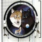 BLACK & WHITE WOLVES JUMBO WAR SHIELD (Sold by the piece) -* CLOSEOUT ONLY 7.50 EA