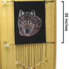 defective -- WOLF HEAD WITH ARROW AND FEATHERS WALL BANNER  (Sold by the piece) -* CLOSEOUT NOW ONLY $ 1.50 EA