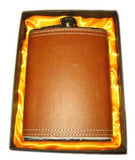 BROWN LEATHER WRAPPED FLASK (Sold by the piece) *- CLOSEOUT NOW $4.50 EA