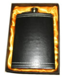 BLACK LEATHER WRAPPED 8 OZ FLASK (Sold by the piece) *- CLOSEOUT NOW $ 4.50 EA