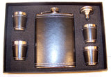 BLACK LEATHER FLASK SET (Sold by the piece)