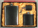 BLACK LEATHER 3 PIECE FLASK WITH KEY CHAIN SET (Sold by the piece)