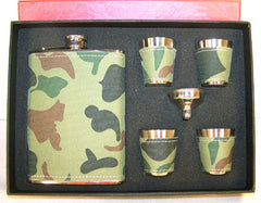 CAMOFLAGUE FLASK SET W FOUR SHOT GLASSES (Sold by the piece) - CLOSEOUT $ 7.50 EA