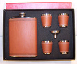 BROWN LEATHER FLASK SET (Sold by the piece)