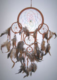LIGHT BROWN TAN RAINBOW DREAMCATCHER 24 INCH  (Sold by the piece)