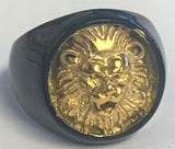 BLACK & GOLD KING LION FACE METAL BIKER RING (sold by the piece)