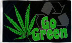 GO GREEN POT 3 x 5 ENVIRONMENTALIST MARIJUANA FLAG (Sold by the piece)