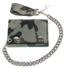 GREY DESERT CAMO CAMOUFLAGE TRIFOLD LEATHER WALLETS WITH CHAIN (Sold by the piece)