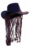 COWBOY HAT W LONG BROWN HAIR  (Sold by the piece)