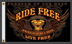 RIDE FREE LIVE FREE DELUXE 3' x 5' BIKER FLAG (Sold by the piece)