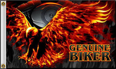 GENUINE BIKER FLYING EAGLE DELUXE 3' X 5' BIKER FLAG (Sold by the piece)