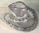 SILVER SEQUIN COWBOY HAT (Sold by the piece)