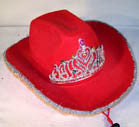 VELVET RED COWBOY HAT WITH TIARA (Sold by the piece) CLOSEOUT NOW ONLY $2.50 EA