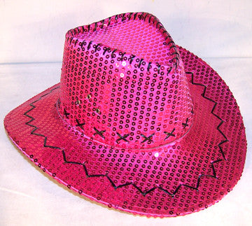 Sequin Cowboy Hat Hot Pink Sold By The Piece Novelties