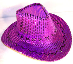 SEQUIN COWBOY HAT PURPLE (Sold by the piece) *- CLOSEOUT NOW $2.50 EA