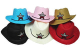 ASSORTED COLORS STRAW KIDS COWBOY HAT WITH USA STAR (Sold by the dozen)