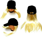 BASEBALL HAT WITH LONG BLONDE HAIR (Sold by the piece)