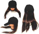 BASEBALL HAT WITH LONG BROWN HAIR (Sold by the piece)