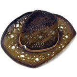 BROWN TWO TONE WOVEN COWBOY HATS (Sold by the piece) *- CLOSEOUT $ 5 EA