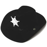 CHILDRENS BLACK FELT SHERIFF COWBOY HAT WITH BADGE (Sold by the piece) *- CLOSEOUT NOW $ 2 EA