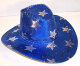 BLUE STAR SEQUIN COWBOY HAT (Sold by the piece) *- CLOSEOUT NOW $ 2.50 EACH