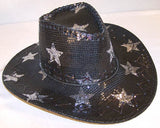 BLACK STAR SEQUIN COWBOY HAT (Sold by the piece) *- CLOSEOUT NOW $ 2.50 EA