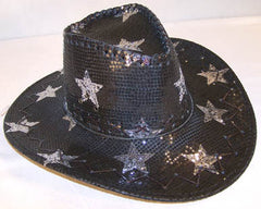 BLACK STAR SEQUIN COWBOY HAT (Sold by the piece)
