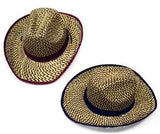 BROWN ZIG ZAG COWBOY STRAW HATS (Sold by the piece or dozen)