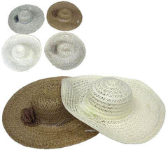 LADIES WIDE BRIM RIBBON HATS (Sold by the piece) CLOSEOUT $ 2 EACH