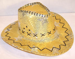 GOLD STAR SEQUIN COWBOY HAT (Sold by the piece) *- CLOSEOUT NOW $ 2.50 EA