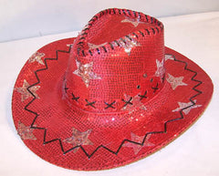 RED STAR SEQUIN COWBOY HAT (Sold by the piece) *- CLOSEOUT NOW $ 2.50 EACH