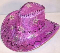 PURPLE STAR SEQUIN COWBOY HAT (Sold by the piece) *- CLOSEOUT NOW $ 2.50 EACH