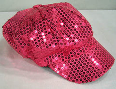 SEQUIN HOT PINK BASEBALL CAP (Sold by the piece)