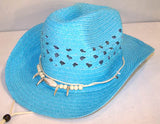 BLUE WOVEN COWBOY HAT WITH BEAR CLAW BAND (Sold by the piece) *- CLOSEOUT NOW $ 2.50 EA