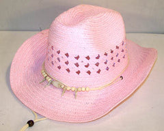 PINK WOVEN COWBOY HAT WITH BEAR CLAW BAND (Sold by the piece)  - CLOSEOUT NOW $ 3 EA
