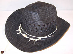 BLACK WOVEN COWBOY HAT WITH BEAR CLAW BAND (Sold by the piece) CLOSEOUT $ 3 EA