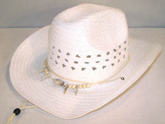 WHITE WOVEN COWBOY HAT WITH BEAR CLAW BAND (Sold by the piece) *- CLOSEOUT NOW $ 3.50  EA