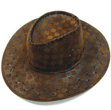 CHECKERED STYLE IMATATION LEATHER COWBOY HAT  (Sold by the piece or dozen ) *- CLOSEOUT NOW $ 2 EA