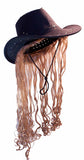 COWBOY HAT W LONG BLONDE HAIR  (Sold by the piece)