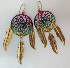 3 INCH METAL DREAM CATCHER RAINBOW DANGLE EARRINGS WITH FEATHERS (SOLD BY THE PAIR)