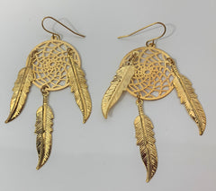 3INCH METAL DREAM CATCHER GOLD  DANGLE EARRINGS WITH FEATHERS (SOLD BY THE PAIR)