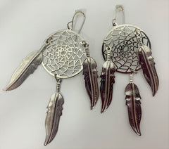 3INCH METAL DREAM CATCHER SILVER DANGLE EARRINGS WITH FEATHERS (SOLD BY THE PAIR)