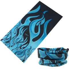 BLUE FLAMES MULTI FUNCTION SEAMLESS BANDANA WRAP ( sold by the piece or dozen )