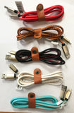 REAL LEATHER ASST COLORS IPHONE 5 6 7 CELL PHONE CHARGER CORD ( sold by the dozen or piece )