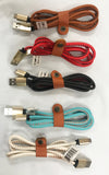 REAL LEATHER ASST COLORS MIRCO USB ANDROID CELL PHONE CHARGER CORD ( sold by the dozen or piece )