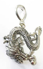 LARGE SILVER CHINESE DRAGON PENDANT  (sold by the DOZEN  ) *- CLOSEOUT 50 CENTS EA