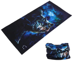NIGHT WOLF MULTI FUNCTION SEAMLESS BANDANA WRAP ( sold by the piece or dozen )